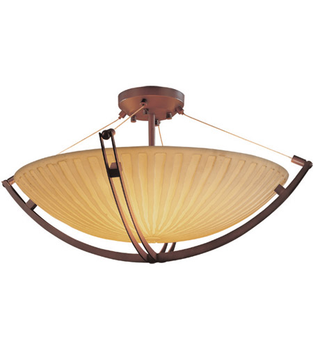 Justice Design PNA-9717-35-WFAL-DBRZ Porcelina 8 Light 55 inch Dark Bronze Semi-Flush Bowl Ceiling Light in Round Bowl, Waterfall photo