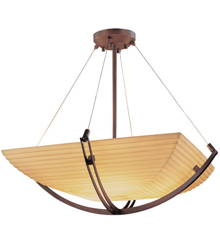 Justice Design PNA-9721-25-SAWT-DBRZ Porcelina 3 Light 22 inch Dark Bronze Pendant Bowl Ceiling Light in Square Bowl, Sawtooth photo