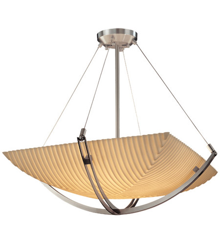 Justice Design PNA-9722-25-PLET-NCKL Porcelina 6 Light 28 inch Brushed Nickel Pendant Bowl Ceiling Light in Square Bowl, Pleats photo
