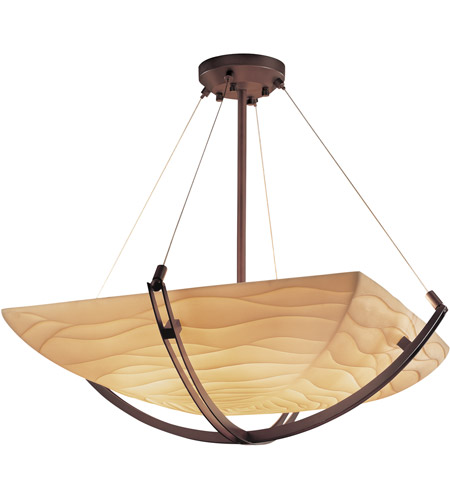 Justice Design PNA-9722-25-WAVE-DBRZ Porcelina 6 Light 28 inch Dark Bronze Pendant Bowl Ceiling Light in Square Bowl, Waves photo