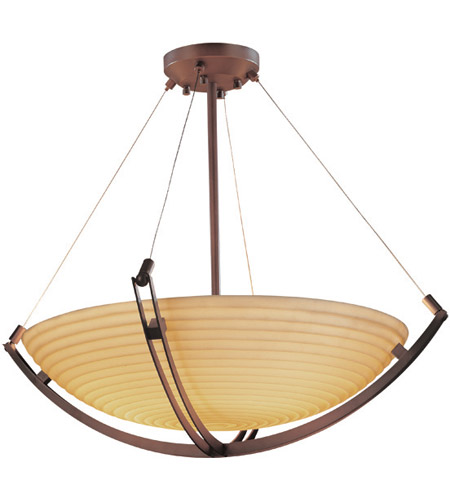 Justice Design PNA-9729-35-SAWT-DBRZ Porcelina 12 Light 69 inch Dark Bronze Pendant Bowl Ceiling Light in Sawtooth photo