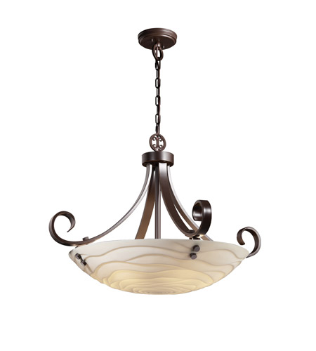 Justice Design PNA-9742-35-WAVE-DBRZ-F1 Porcelina 6 Light 31 inch Dark Bronze Pendant Bowl Ceiling Light in Pair of Cylinders, Round Bowl, Waves photo
