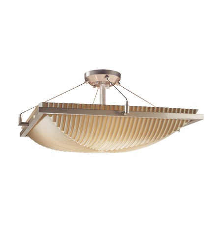 Justice Design PNA-9781-25-PLET-NCKL Porcelina 3 Light 20 inch Brushed Nickel Semi-Flush Bowl Ceiling Light in Pleats photo