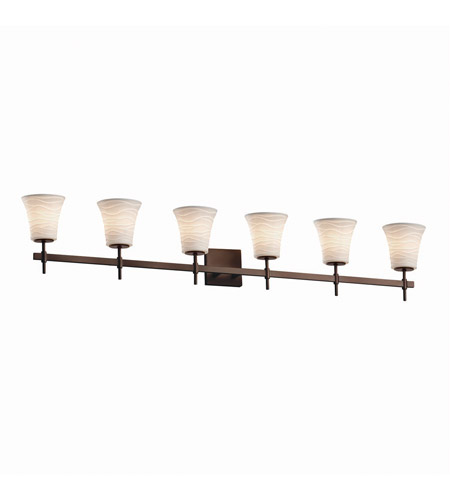 Justice Design POR-8416-20-WAVE-DBRZ Limoges 6 Light 49 inch Dark Bronze Bath Bar Wall Light photo