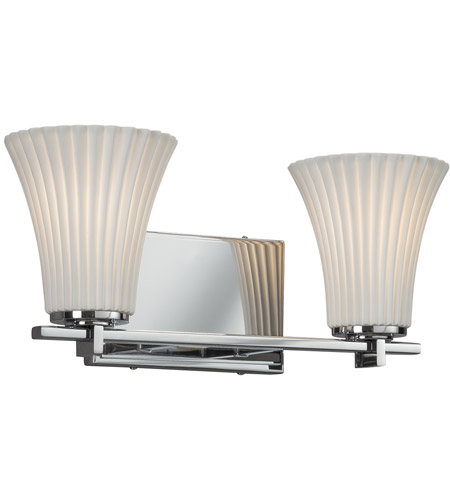 Justice Design POR-8442-20-PLET-CROM Limoges 2 Light 16 inch Vanity Light Wall Light in Polished Chrome, Pleats, Round Flared, Incandescent photo