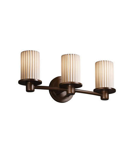 Justice Design POR-8513-10-PLET-DBRZ Limoges 3 Light 20 inch Dark Bronze Bath Bar Wall Light in Pleats photo
