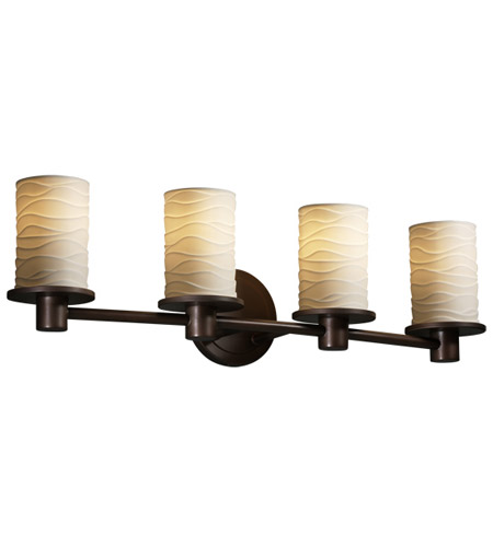 Justice Design POR-8514-10-WAVE-DBRZ Limoges 4 Light 28 inch Dark Bronze Bath Bar Wall Light in Waves photo