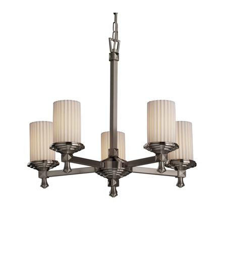 Justice Design Limoges Deco 5-Light Chandelier in Brushed Nickel POR-8530-10-PLET-NCKL photo