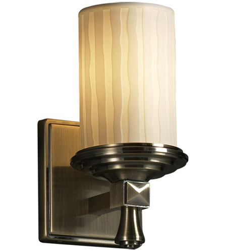 Justice Design Limoges Deco 1-Light Wall Sconce in Antique Brass POR-8531-10-WFAL-ABRS photo