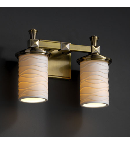 Justice Design Limoges Deco 2-Light Bath Bar in Antique Brass POR-8532-10-WAVE-ABRS photo
