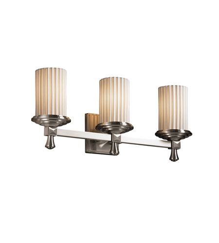 Justice Design POR-8533-10-PLET-NCKL Limoges 3 Light 21 inch Brushed Nickel Bath Bar Wall Light in Pleats photo