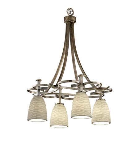 Justice Design Limoges Arcadia 4-Downlight Chandelier in Antique Brass POR-8565-18-WAVE-ABRS photo