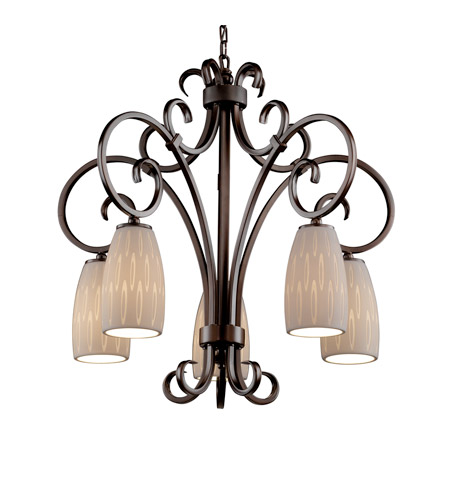 Justice Design Limoges Victoria 5-Downlight Chandelier in Dark Bronze POR-8575-28-OVAL-DBRZ photo