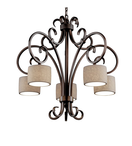 Justice Design Limoges Victoria 5-Downlight Chandelier in Dark Bronze POR-8575-45-LEAF-DBRZ photo