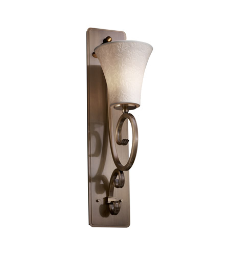 Justice Design Limoges Victoria 1-Light Wall Sconce (Tall) in Antique Brass POR-8579-20-LEAF-ABRS photo