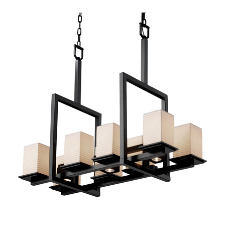 Justice Design Limoges Montana 8-Up & 3-Downlight Bridge Chandelier in Matte Black POR-8618-15-SAWT-MBLK photo