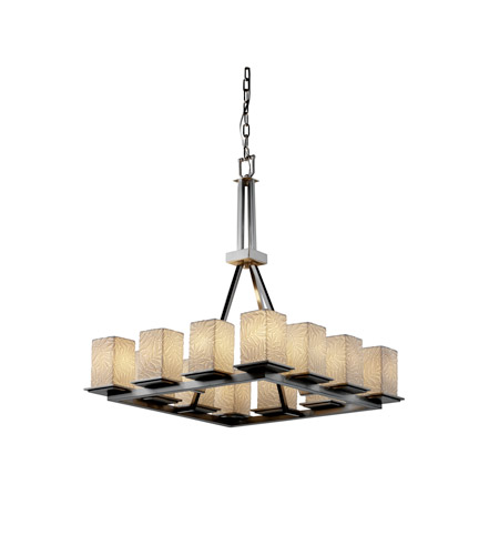 Justice Design POR-8663-15-BMBO-NCKL Limoges 12 Light 29 inch Brushed Nickel Chandelier Ceiling Light in Bamboo photo