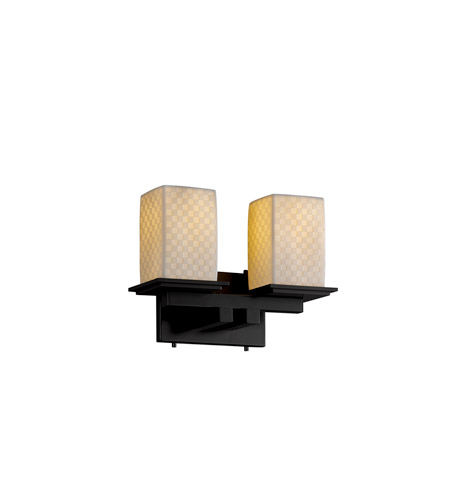 Justice Design Limoges Montana 2-Light Bath Bar in Matte Black POR-8672-15-CHKR-MBLK photo