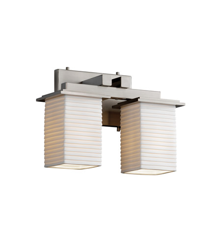 Justice Design POR-8672-15-SAWT-NCKL Limoges 2 Light 13 inch Brushed Nickel Bath Bar Wall Light in Sawtooth photo