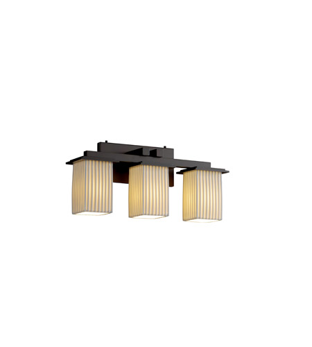 Justice Design POR-8673-15-PLET-DBRZ Limoges 3 Light 21 inch Dark Bronze Bath Bar Wall Light in Pleats photo