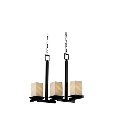 Justice Design Limoges Montana 3-Light Zig-Zag Chandelier in Matte Black POR-8677-15-SAWT-MBLK photo