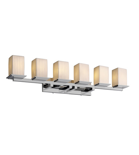Justice Design POR-8686-15-WFAL-CROM Limoges 6 Light 45 inch Polished Chrome Bath Bar Wall Light in Waterfall photo