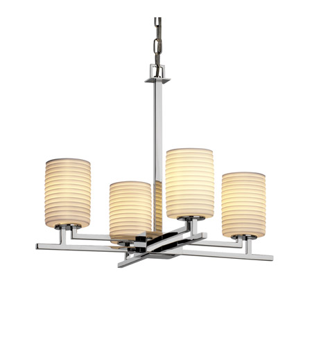 Justice Design POR-8700-10-SAWT-CROM Limoges 4 Light Polished Chrome Chandelier Ceiling Light in Sawtooth, Cylinder with Flat Rim photo