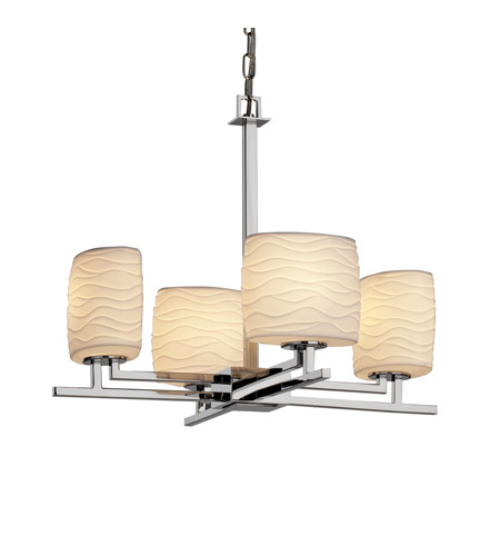 Justice Design POR-8700-30-WAVE-CROM Limoges 4 Light Polished Chrome Chandelier Ceiling Light in Waves, Oval photo