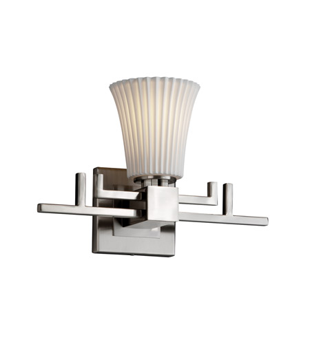 Justice Design POR-8701-20-PLET-NCKL Limoges 1 Light 14 inch Brushed Nickel Wall Sconce Wall Light in Pleats, Round Flared photo