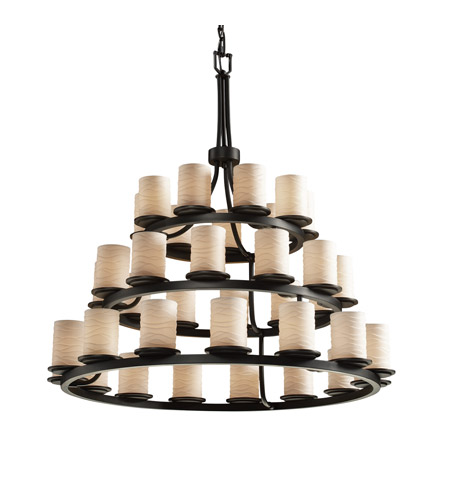 Justice Design Limoges Dakota 36-Light 3-Tier Ring Chandelier in Matte Black POR-8712-10-WAVE-MBLK photo