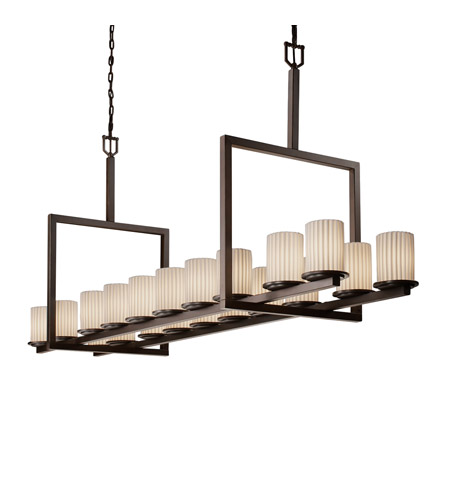 Justice Design POR-8717-10-PLET-DBRZ Limoges 20 Light 20 inch Dark Bronze Chandelier Ceiling Light in Pleats photo
