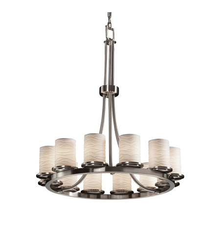 Justice Design POR-8763-10-WAVE-NCKL Limoges 12 Light 28 inch Brushed Nickel Chandelier Ceiling Light in Waves photo