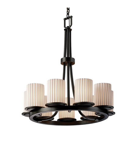 Justice Design Limoges Dakota 9-Light Ring Chandelier in Matte Black POR-8766-10-PLET-MBLK photo