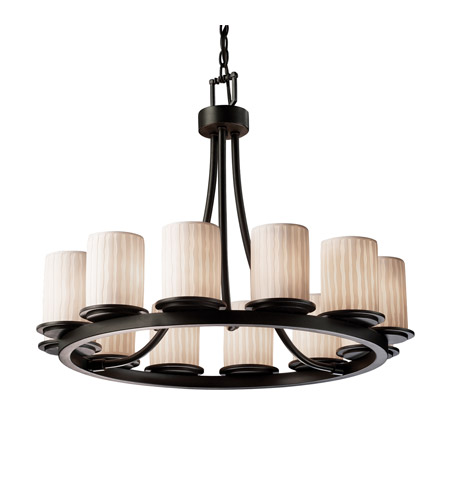 Justice Design Limoges Dakota 12-Light Ring Chandelier (Short) in Matte Black POR-8768-10-WFAL-MBLK photo
