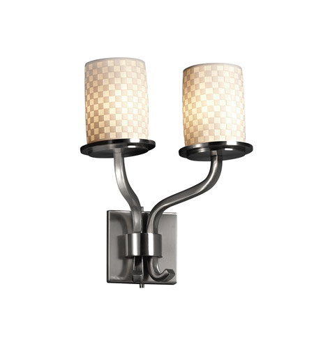 Justice Design Limoges Sonoma 2-Light Wall Sconce (Short) in Brushed Nickel POR-8782-10-CHKR-NCKL photo