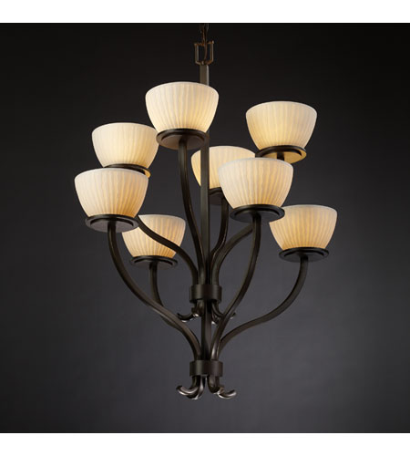 Justice Design Limoges Sonoma 8-Light 2-Tier Chandelier in Dark Bronze POR-8788-35-WFAL-DBRZ photo