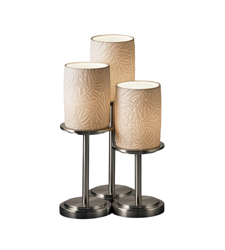 Justice Design POR-8797-10-BMBO-NCKL Limoges 16 inch 60 watt Brushed Nickel Table Lamp Portable Light in Bamboo photo