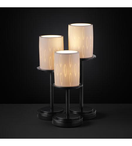 Justice Design Limoges Dakota 3-Light Table Lamp in Matte Black POR-8797-10-OVAL-MBLK photo