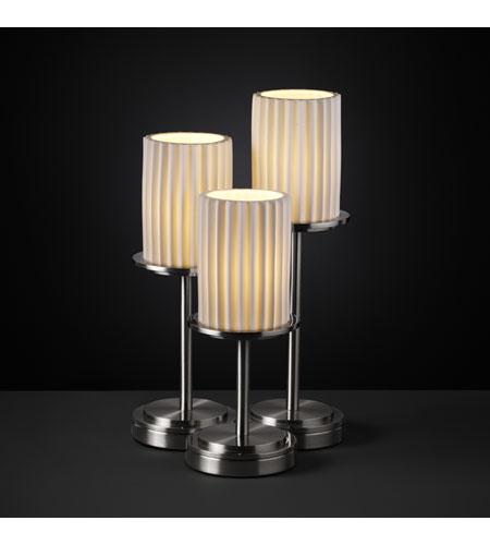 Justice Design Limoges Dakota 3-Light Table Lamp in Brushed Nickel POR-8797-10-PLET-NCKL photo