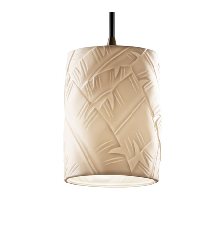Justice Design POR-8815-10-BANL-DBRZ Limoges 1 Light 4 inch Dark Bronze Pendant Ceiling Light in Cord, Banana Leaf, Cylinder with Flat Rim photo