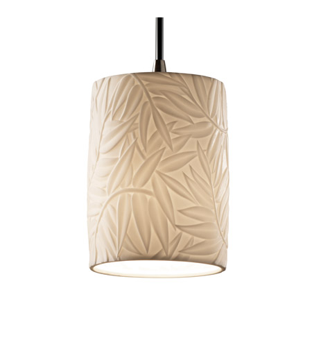 Justice Design POR-8815-10-BMBO-NCKL Limoges 1 Light Brushed Nickel Pendant Ceiling Light in Cord, Bamboo, Cylinder with Flat Rim photo