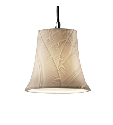 Justice Design POR-8815-20-BANL-CROM Limoges 1 Light 4 inch Polished Chrome Pendant Ceiling Light in Cord, Banana Leaf, Round Flared photo