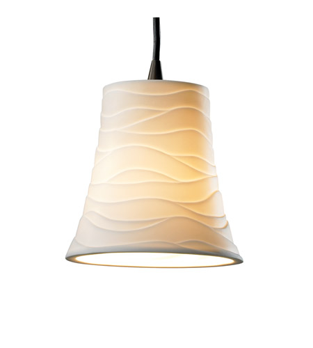 Justice Design POR-8815-20-WAVE-DBRZ Limoges 1 Light Dark Bronze Pendant Ceiling Light in Cord, Waves, Round Flared photo
