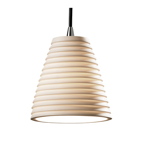 Justice Design POR-8815-50-SAWT-NCKL Limoges 1 Light Brushed Nickel Pendant Ceiling Light in Cord, Sawtooth, Cone photo