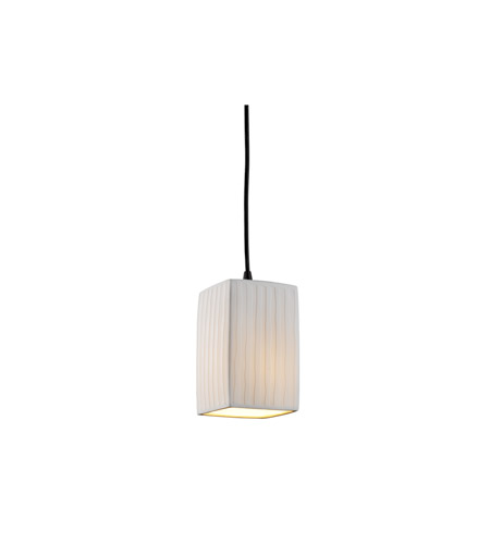 Justice Design POR-8816-15-WFAL-MBLK Limoges 1 Light 4 inch Matte Black Pendant Ceiling Light in Cord, Waterfall, Square with Flat Rim photo