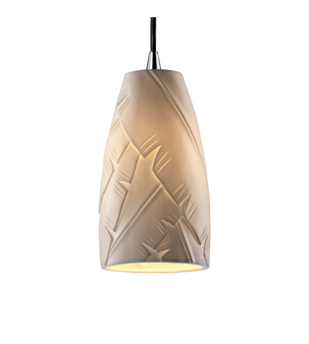 Justice Design POR-8816-28-BANL-CROM Limoges 1 Light Polished Chrome Pendant Ceiling Light in Cord, Banana Leaf, Tall Tapered Cylinder photo