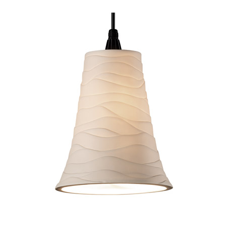 Justice Design Limoges Pendants Large 1-Light Pendant in Matte Black POR-8817-20-WAVE-MBLK photo
