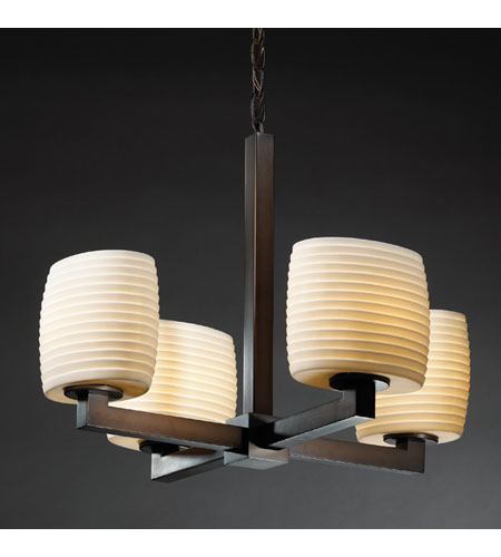 Justice Design Limoges Modular 4-Light Chandelier (Halogen) in Dark Bronze POR-8820-30-SAWT-DBRZ photo