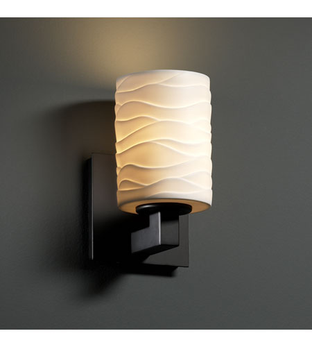 Justice Design Limoges Modular 1-Uplight Wall Sconce (Halogen) in Matte Black POR-8821-10-WAVE-MBLK photo