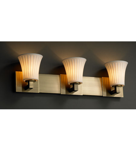 Justice Design Limoges Modular 3-Uplight Bath Bar (Halogen) in Antique Brass POR-8823-20-WFAL-ABRS photo
